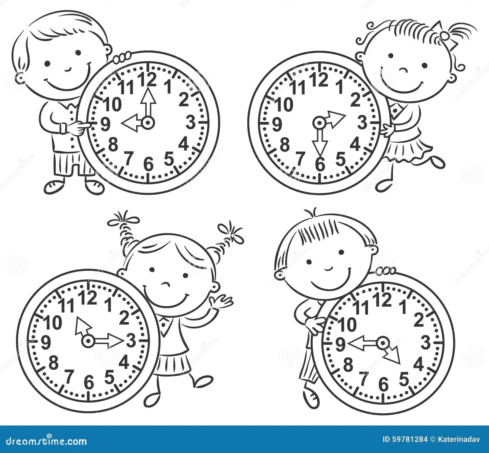 Ninos Que Dicen El Sistema Del Tiempo Ilustracion Del