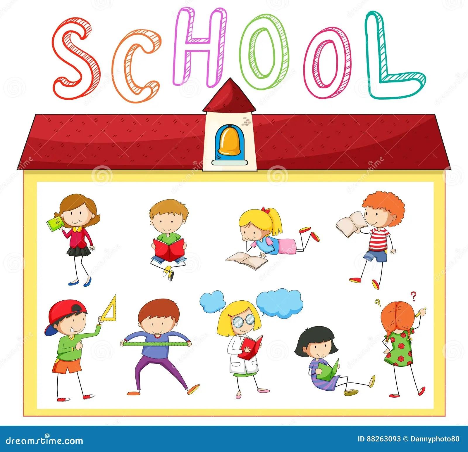 Ninos Que Hacen Diversas Actividades En La Escuela