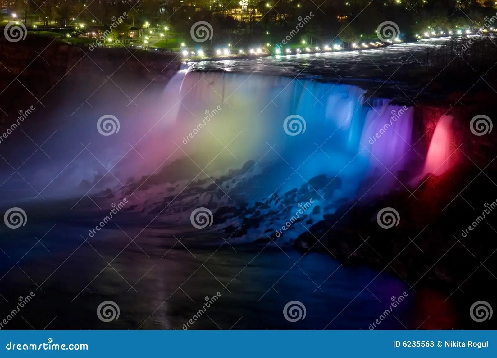 Niagara Falls At Night Stock Image Image Of River Color