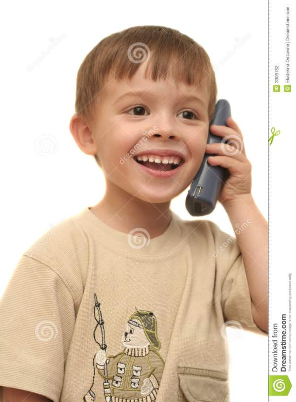 The Nice Boy Speaks By Phone Stock Photo Image 3309782
