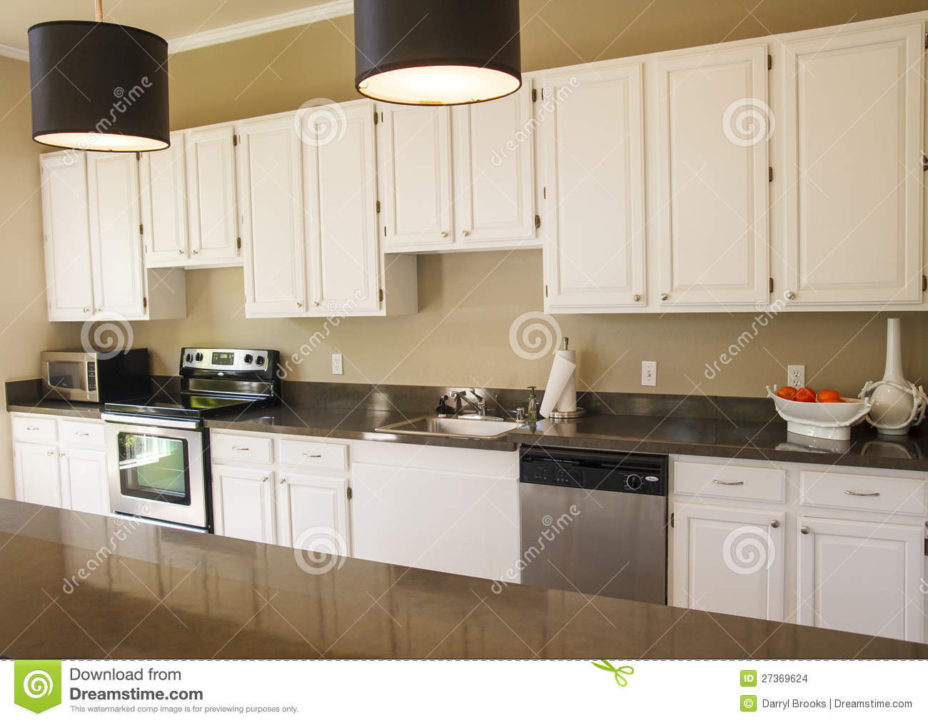 Nice Kitchen With White Cabinets Stock Images Image