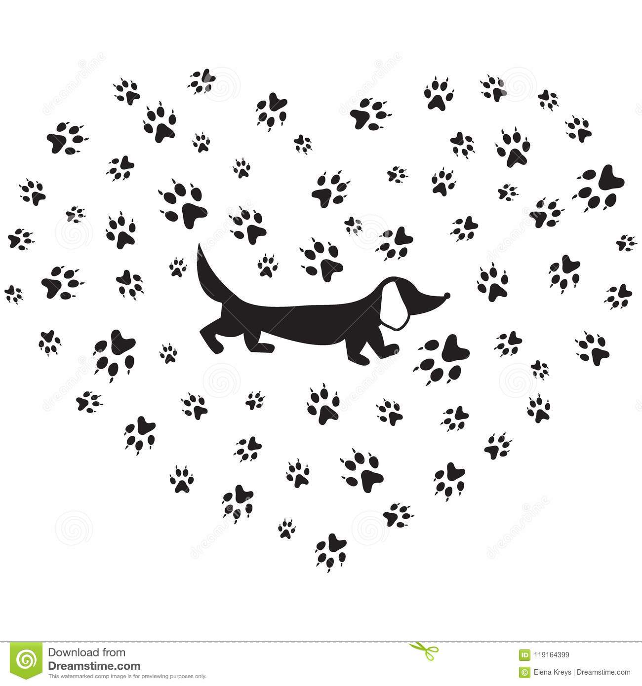 Nice Picture Of Dachshund Silhouette On A Background Of