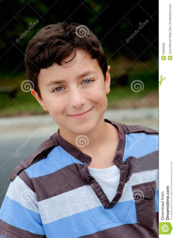 Nice preteen boy smiling stock photo Image of male care