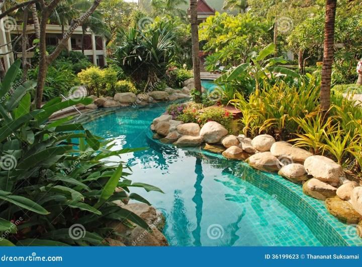 nice swimming pool in garden stock image - image of thai, swimming