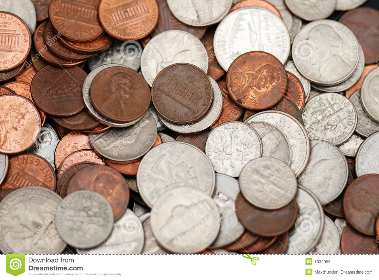 Nickels Dimes And Pennies Royalty Free Stock Photo