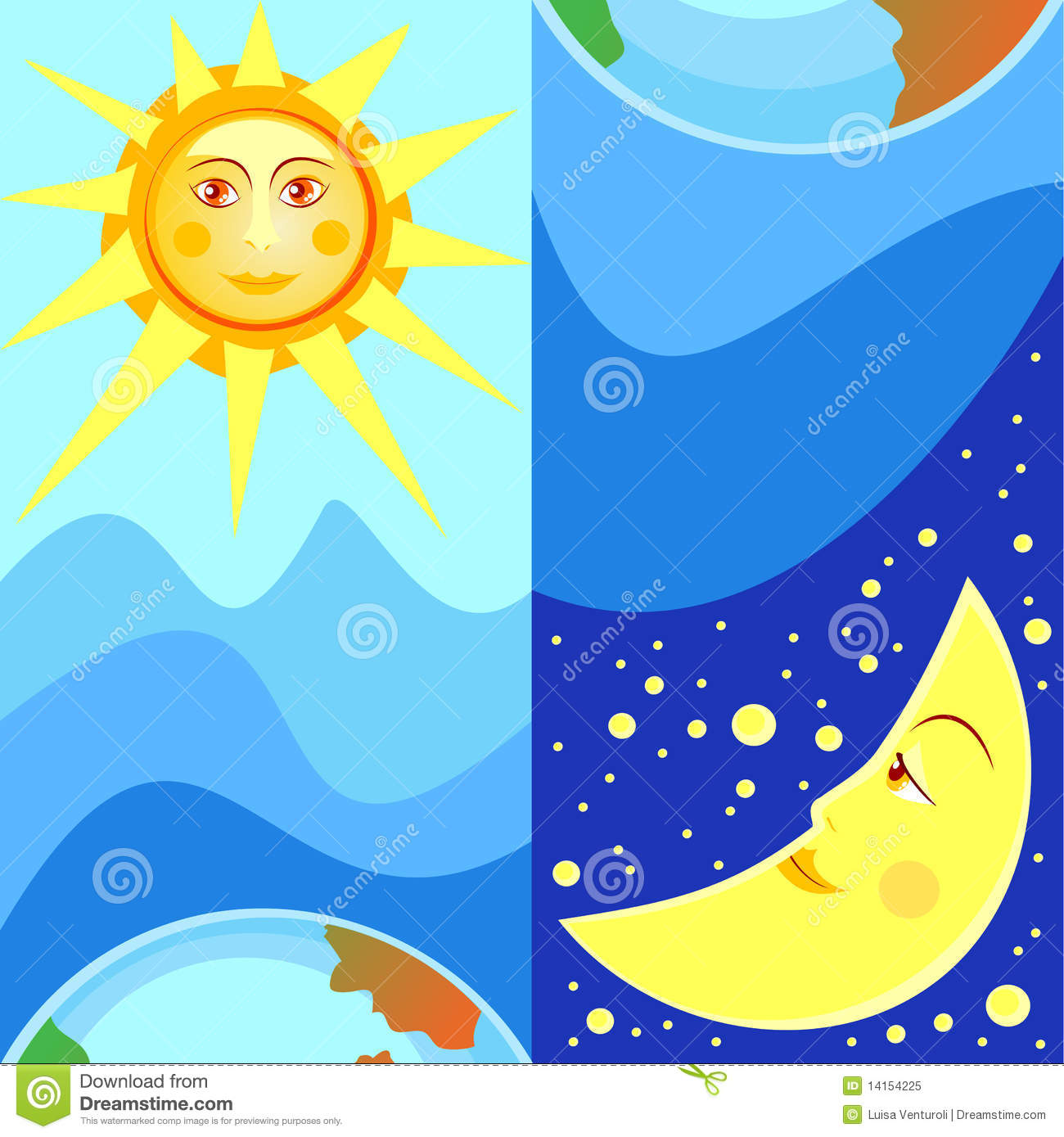 Night And Day Stock Vector Illustration Of Opposite