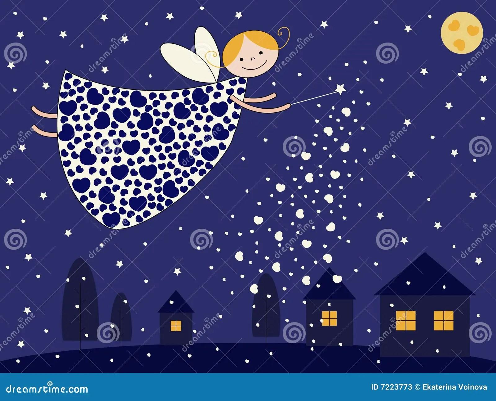 Night Fairy Stock Vector Illustration Of Cute House