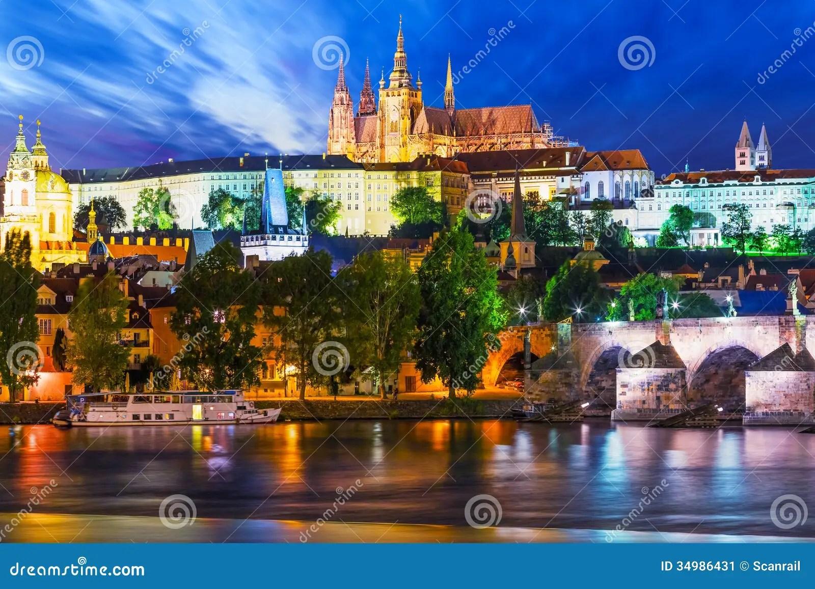 Night Scenery Of Prague Czech Republic Stock Image