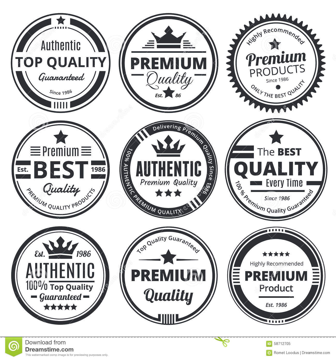 Nine Scalable Vintage Badges Stock Vector