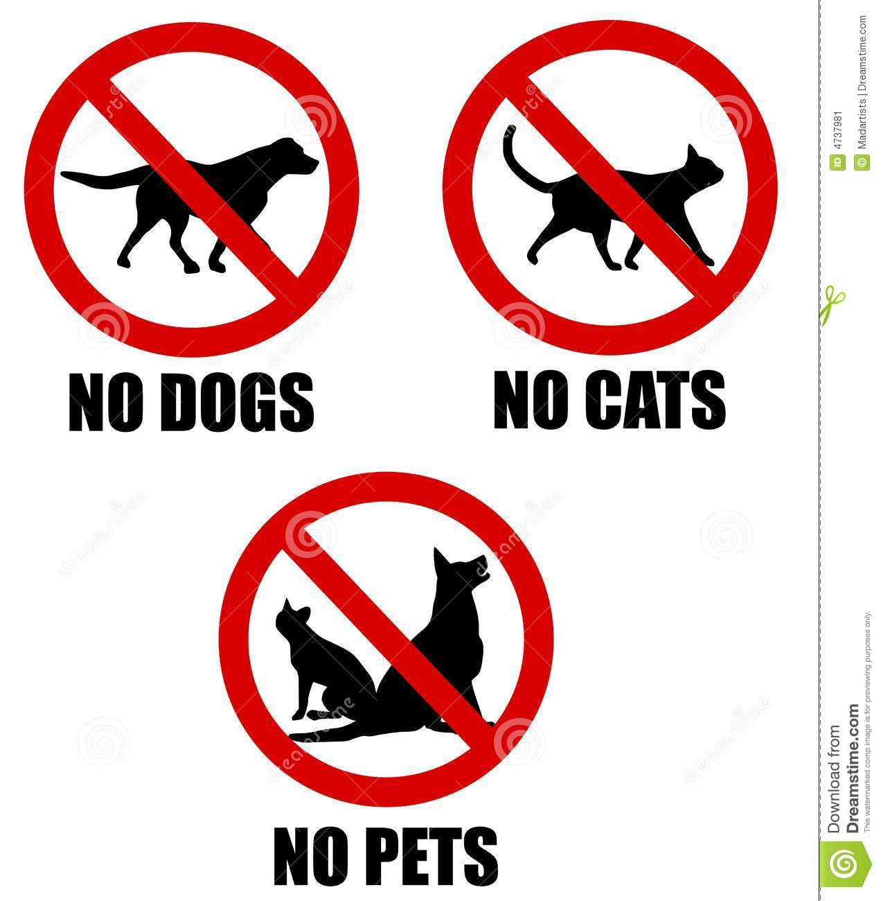 No Pets Allowed Banned Signs Stock Illustration