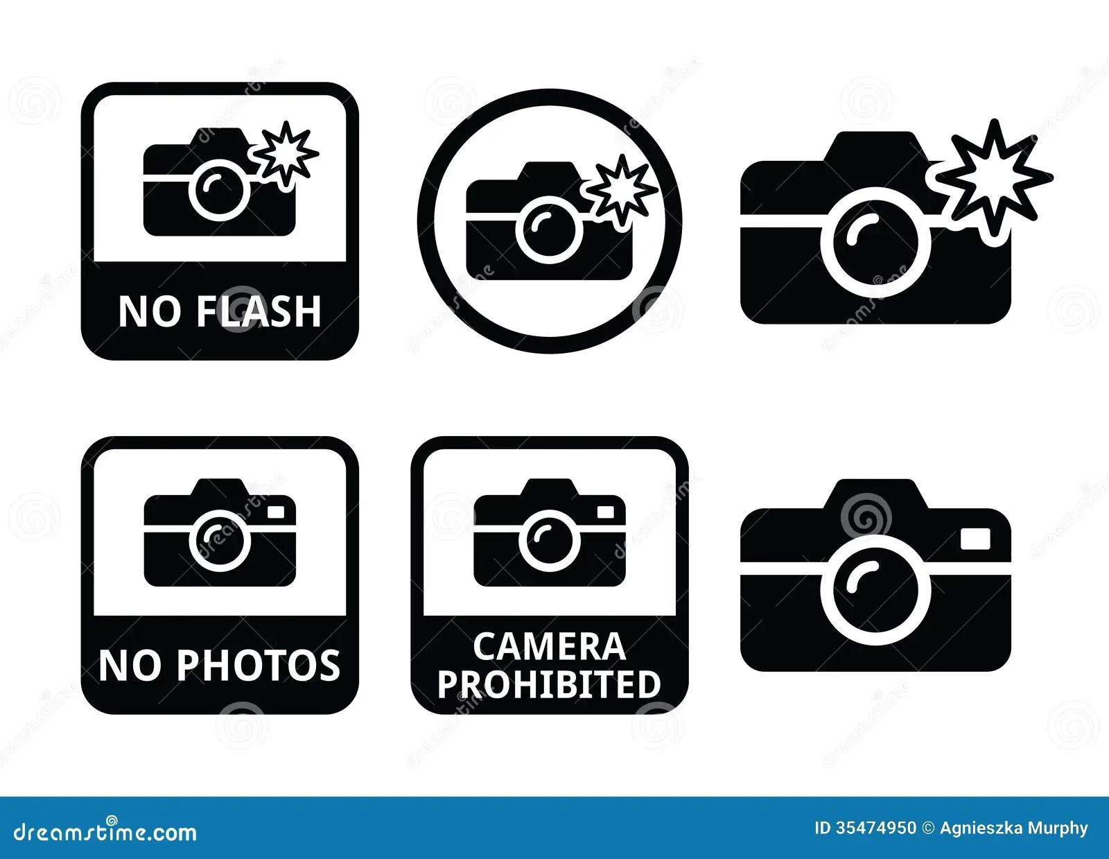 No Photos No Cameras No Flash Icons Stock Photo