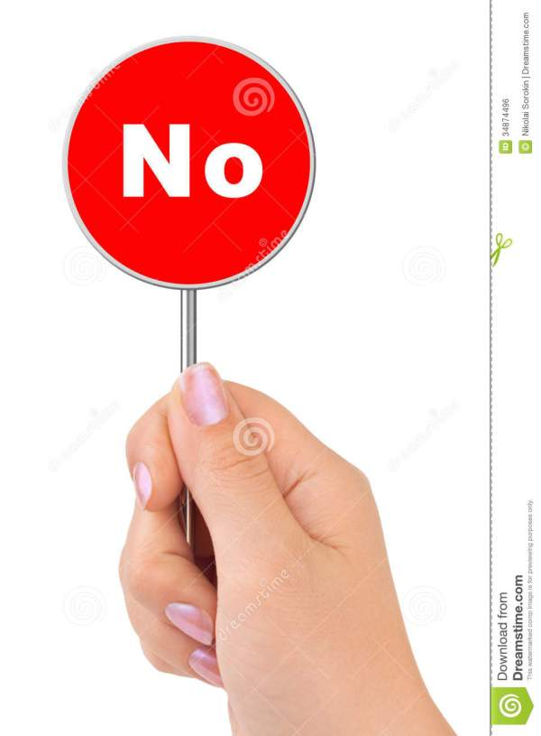No Sign In Hand Royalty Free Stock Image - Image: 34874496