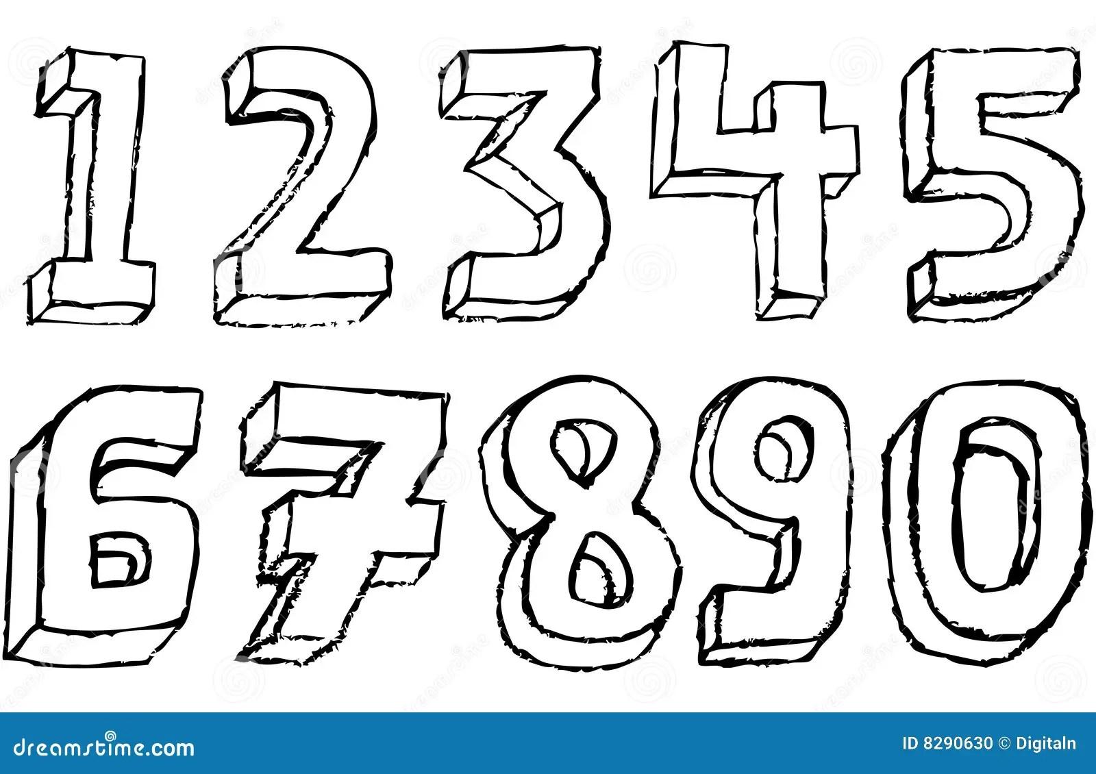 Nombres 3d Grunges En Noir Et Blanc Photo Stock