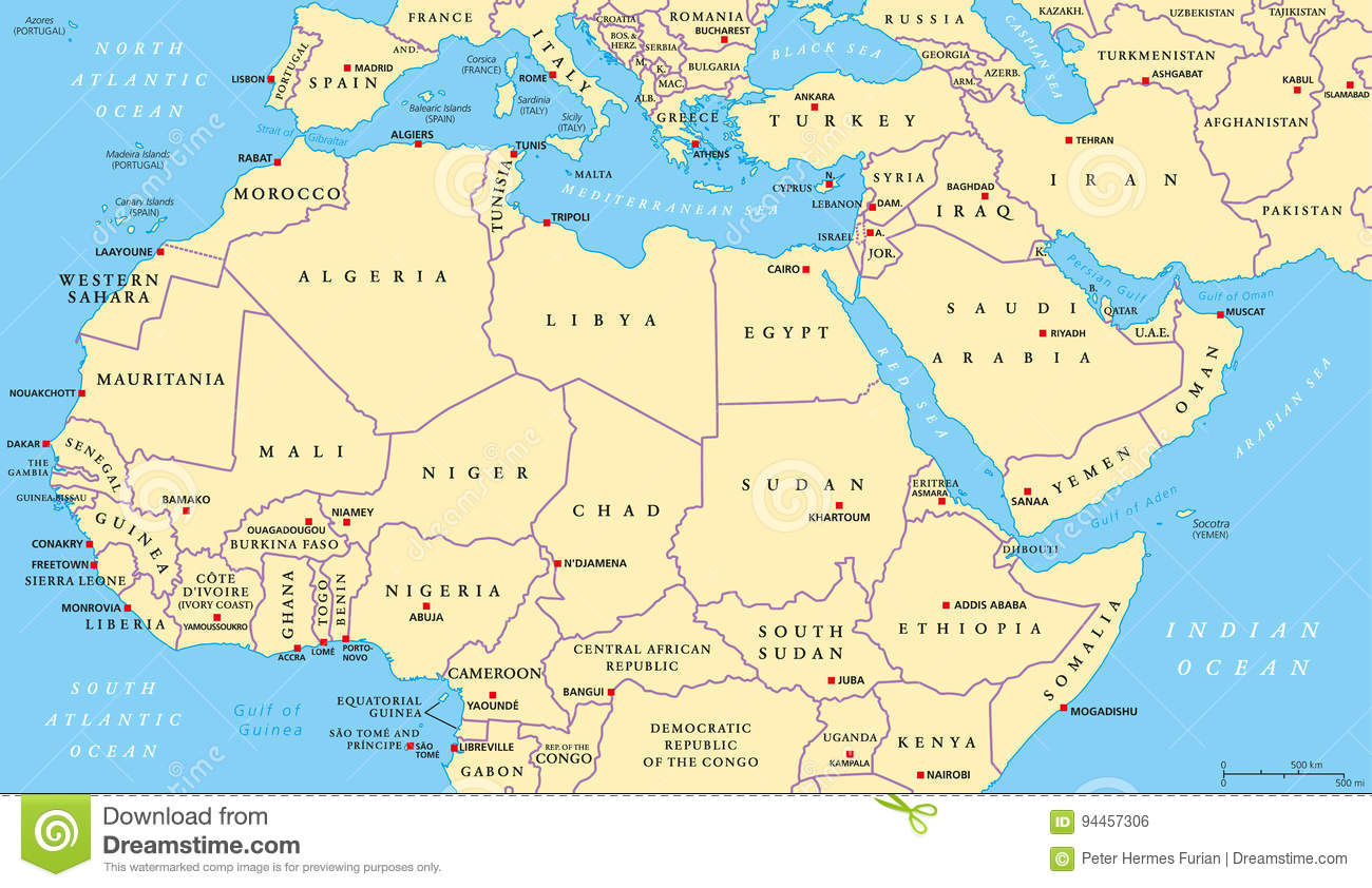 North Africa And Middle East Political Map Stock Vector