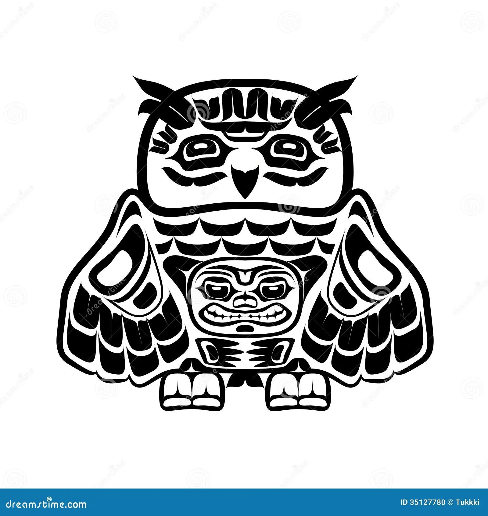 North American Native Art Owl Stock Photo