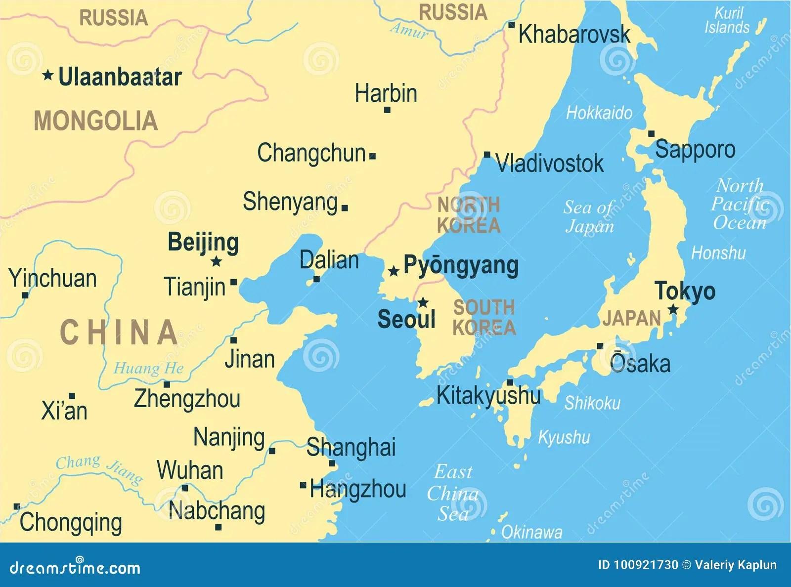 Only Korea Taiw Including South Map Korea China Countries China North Mongolia