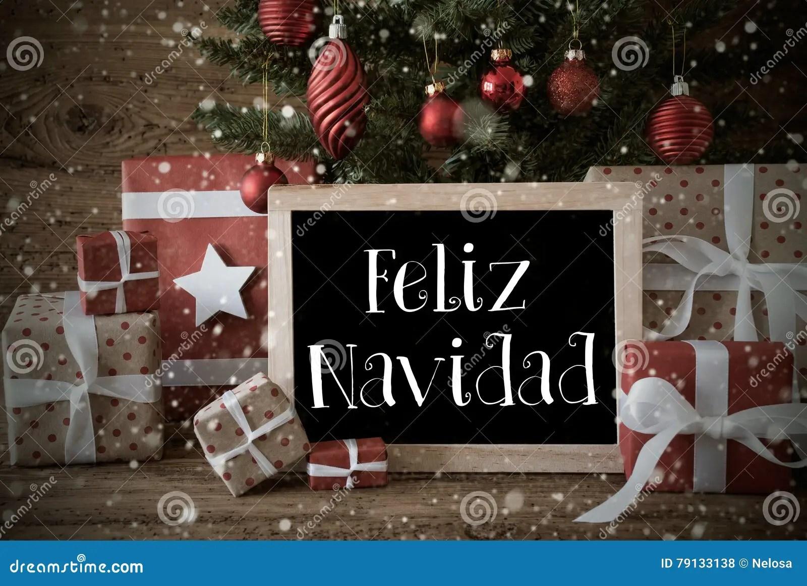Nostalgic Tree Snowflakes Feliz Navidad Means Merry