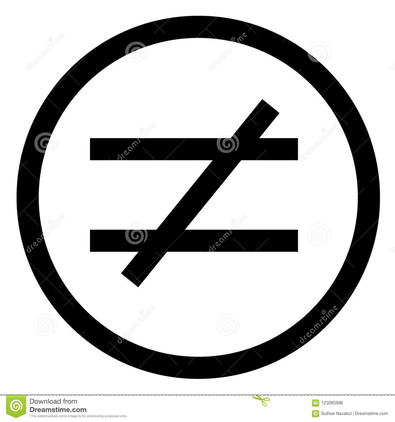 Not Equal Sign Flat Style Not Equal Icon Illustration