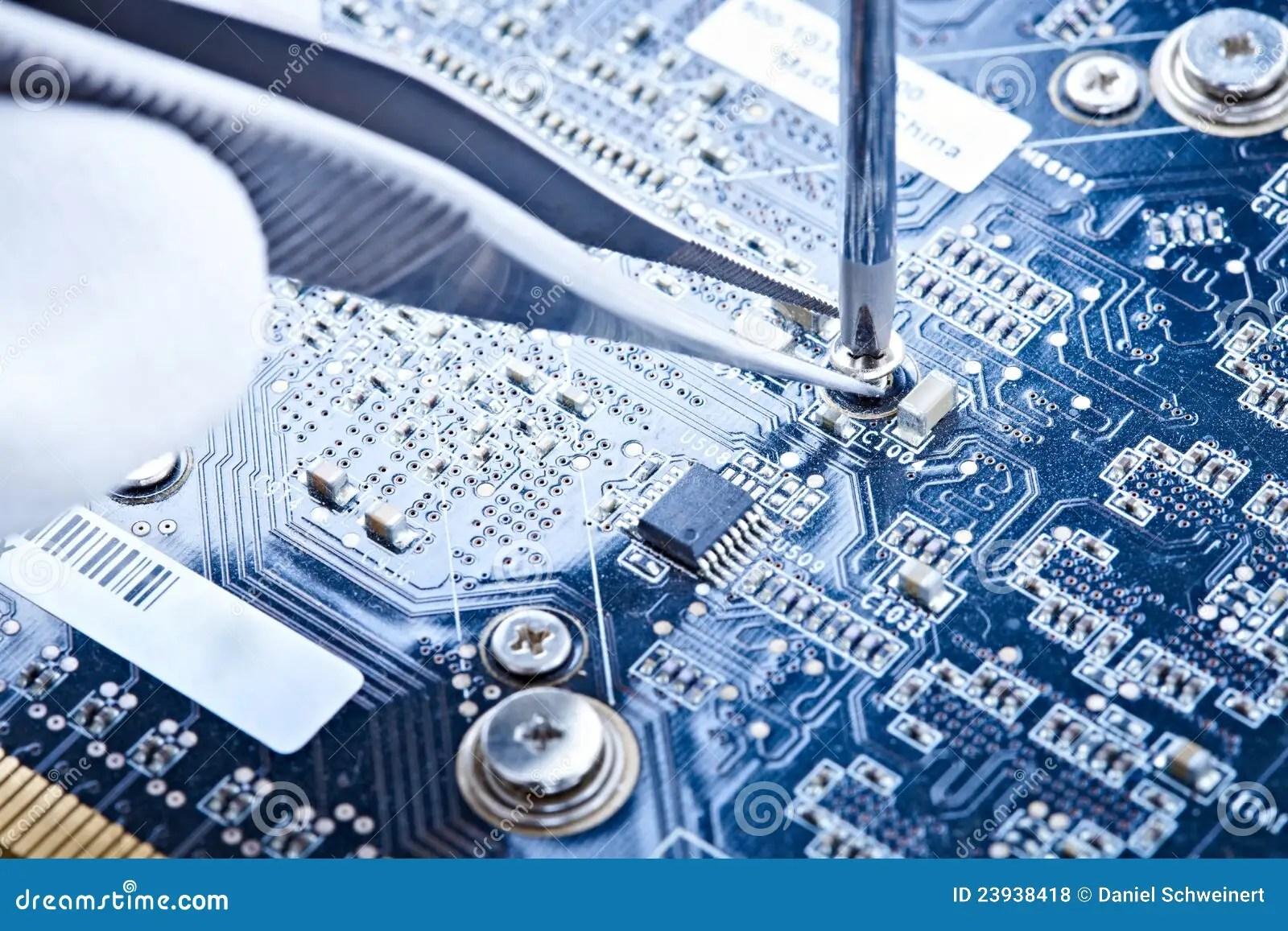 Notebook Repair Printed Circuit Board Stock Photo