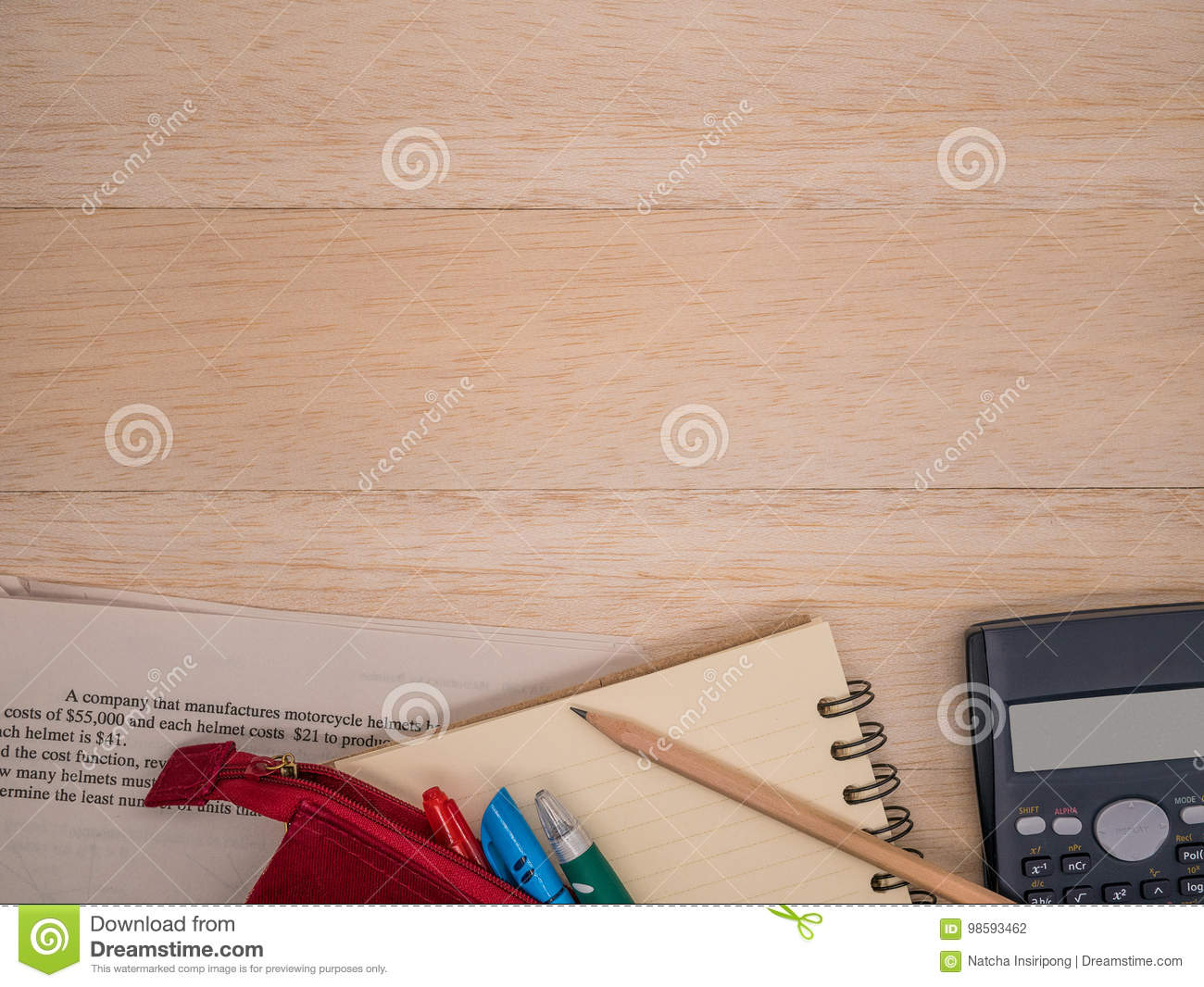 Notebook Wooden Pencil Stationary Calculator And