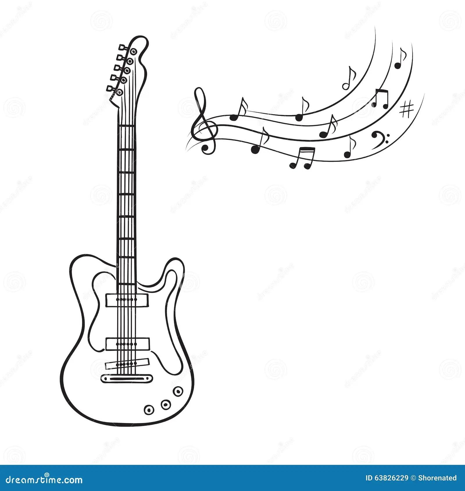 Notes De Guitare Electrique Et De Musique Illustration De