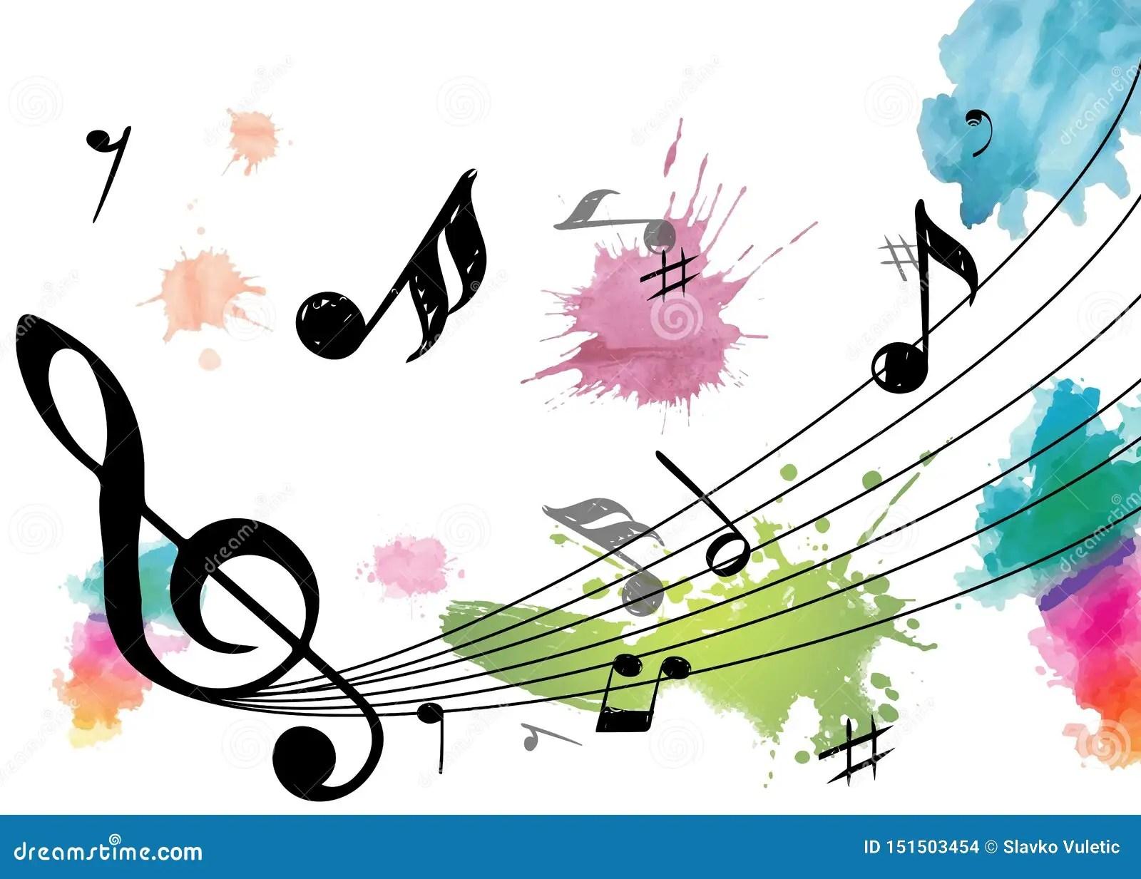 notes de musique avec des couleurs