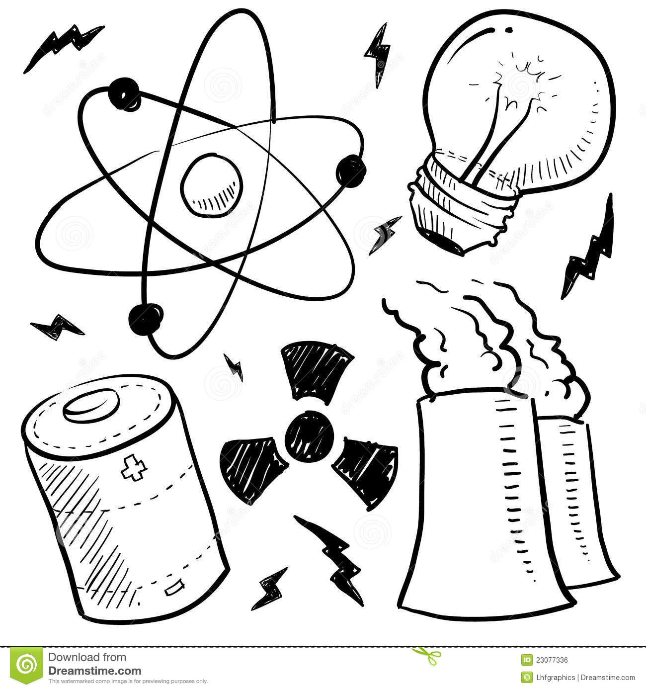 Nuclear Power Objects Sketch Royalty Free Stock Image