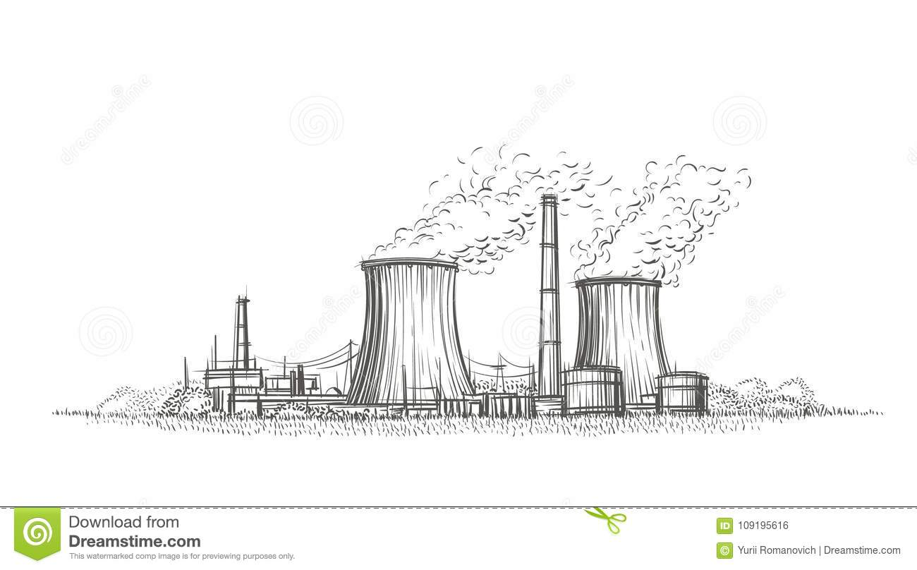 Nuclear Power Plant Hand Drawn Sketch Vector Stock Vector