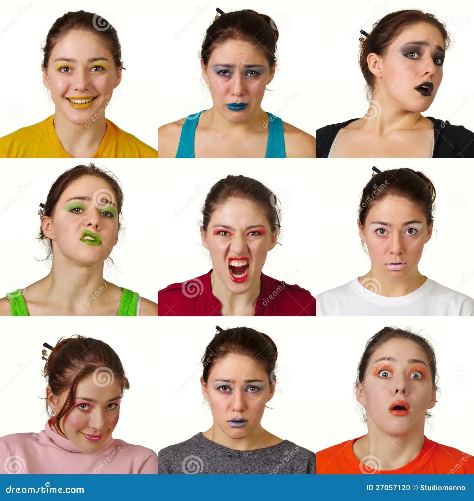 Nueve Expresiones Faciales Coloreadas Utiles Foto De
