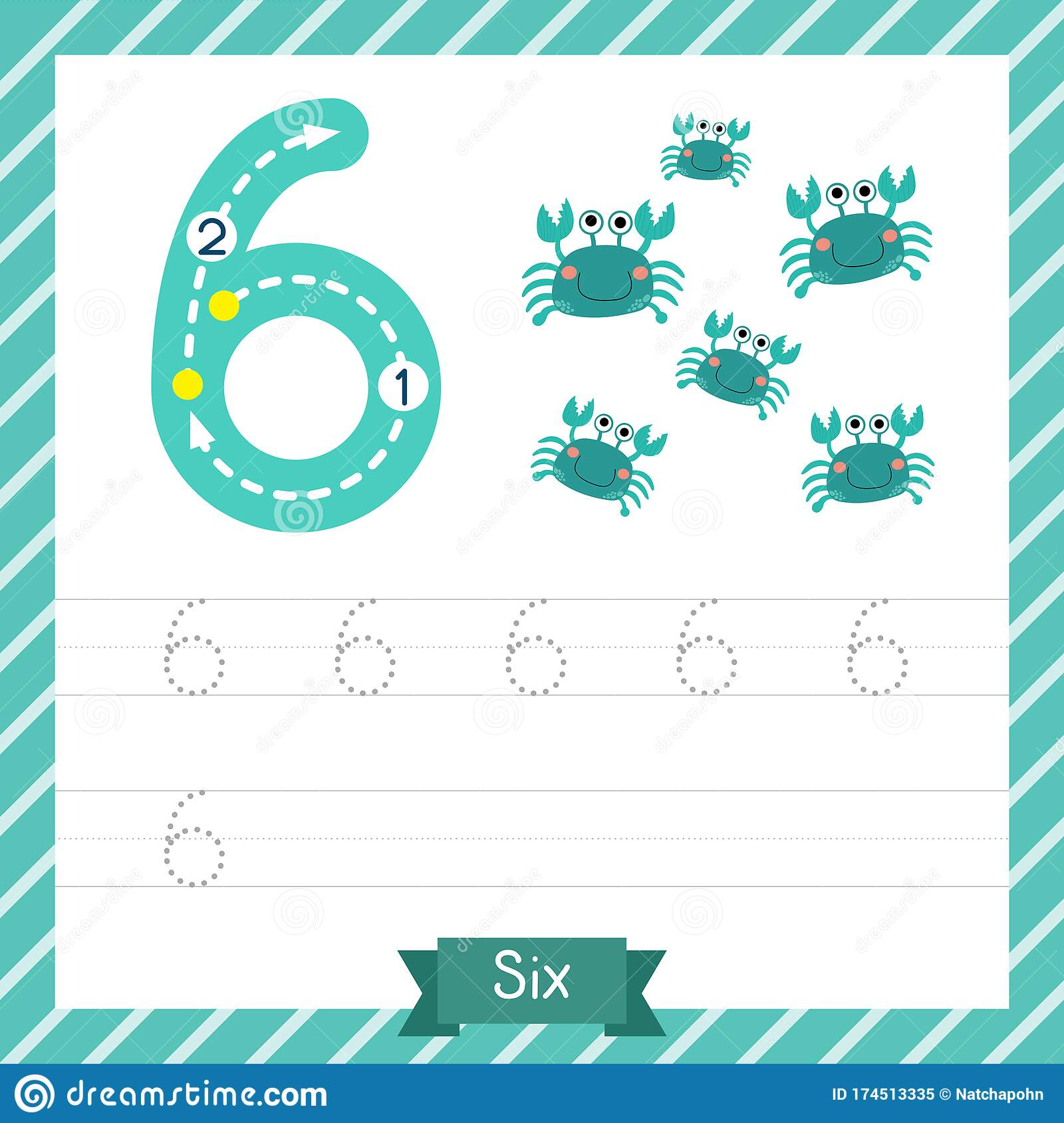 Number 6 Animal Tracing Worksheet Stock Vector