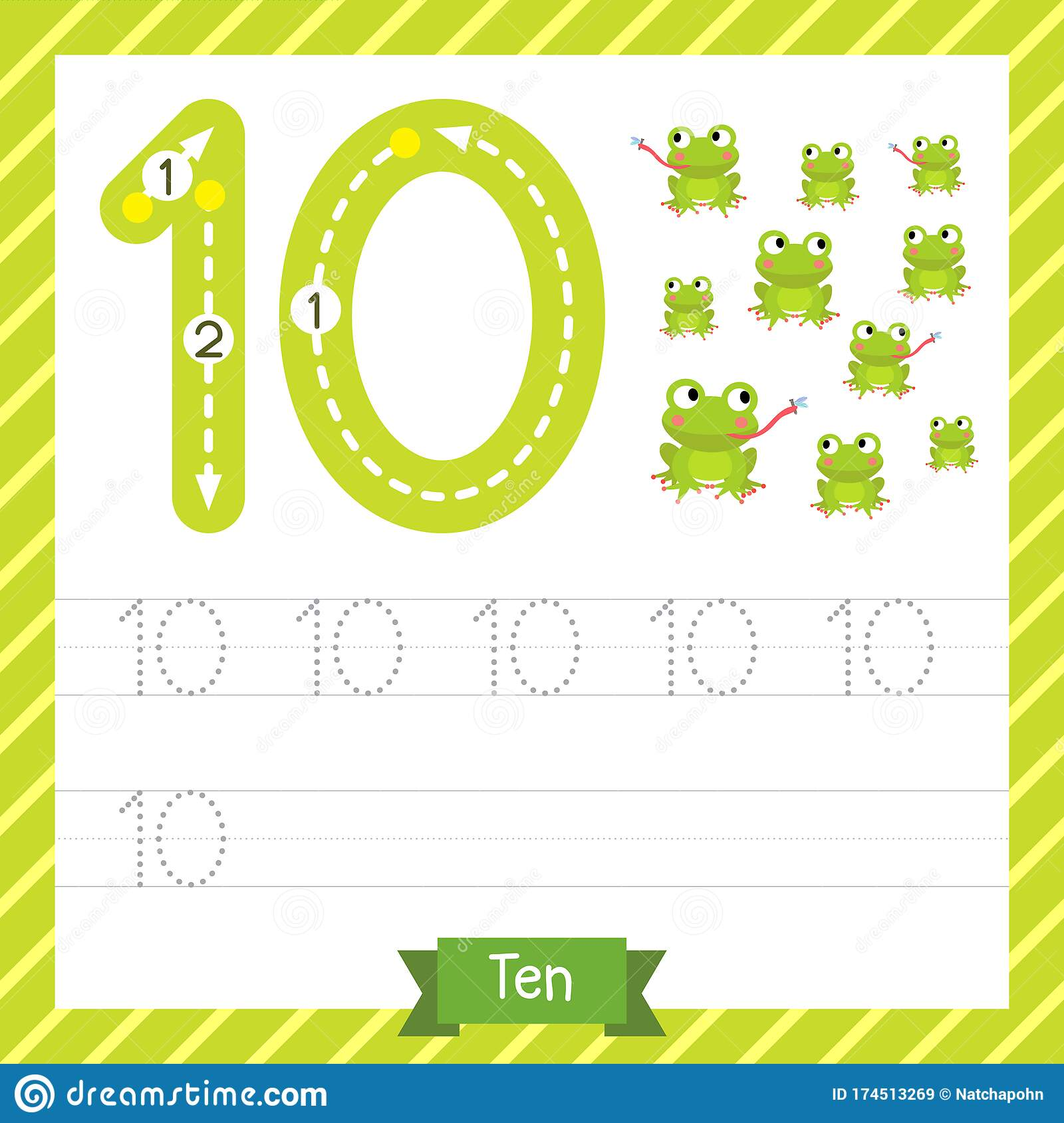 Number 10 Animal Tracing Worksheet Stock Vector