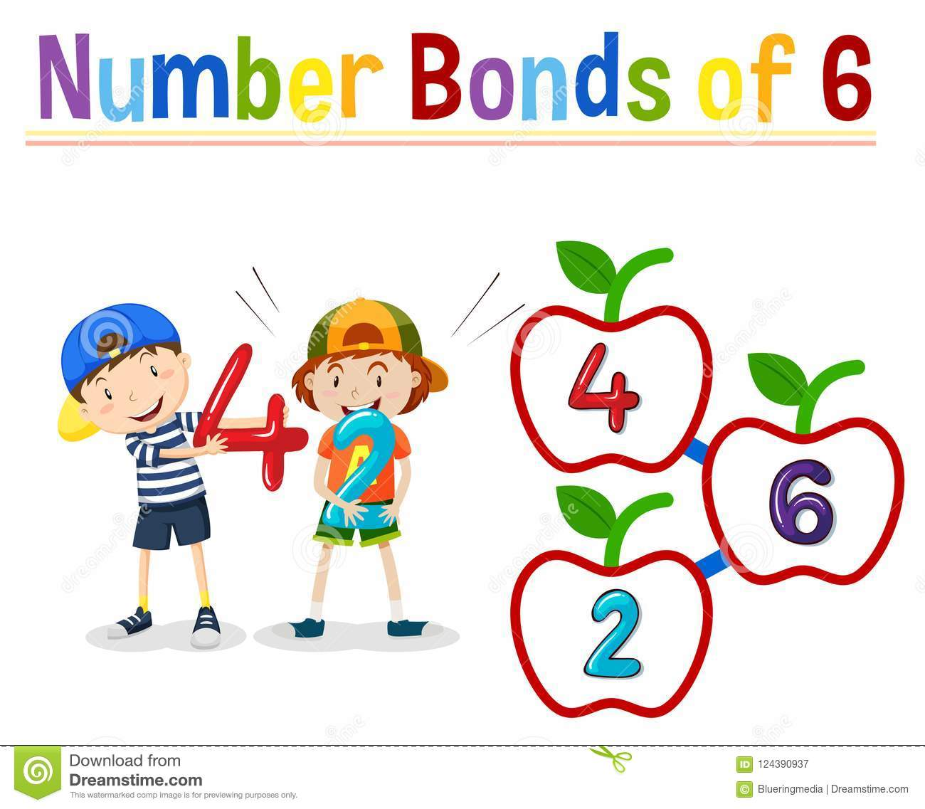 Number Bonds Of 6 Stock Vector Illustration Of Clipart
