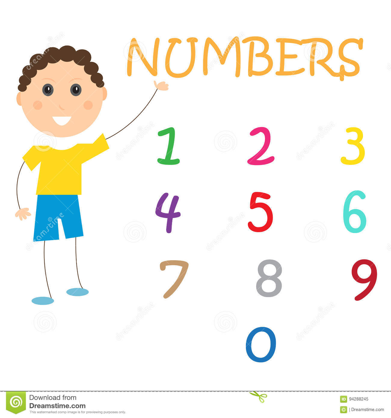 Number Chart Learning Kids Children Stock Vector