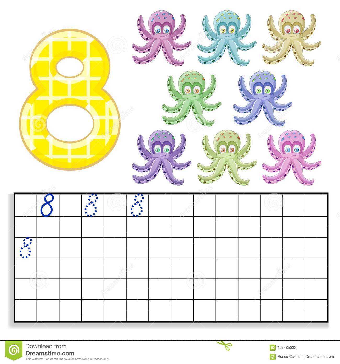 Number 8 With Eight Octopus Stock Vector