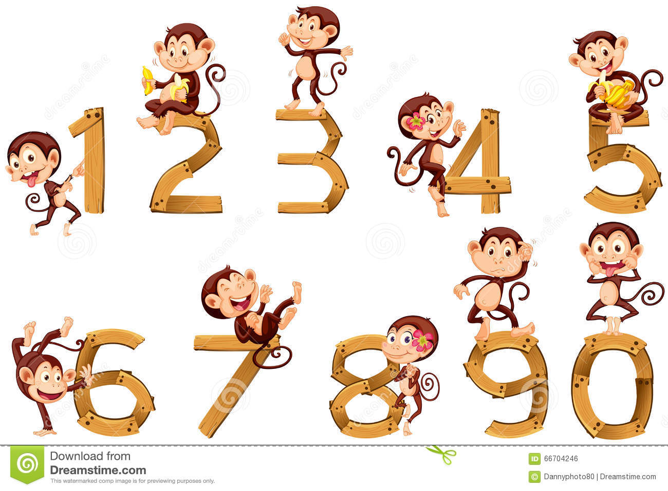 Number One To Ten With Monkeys Stock Vector