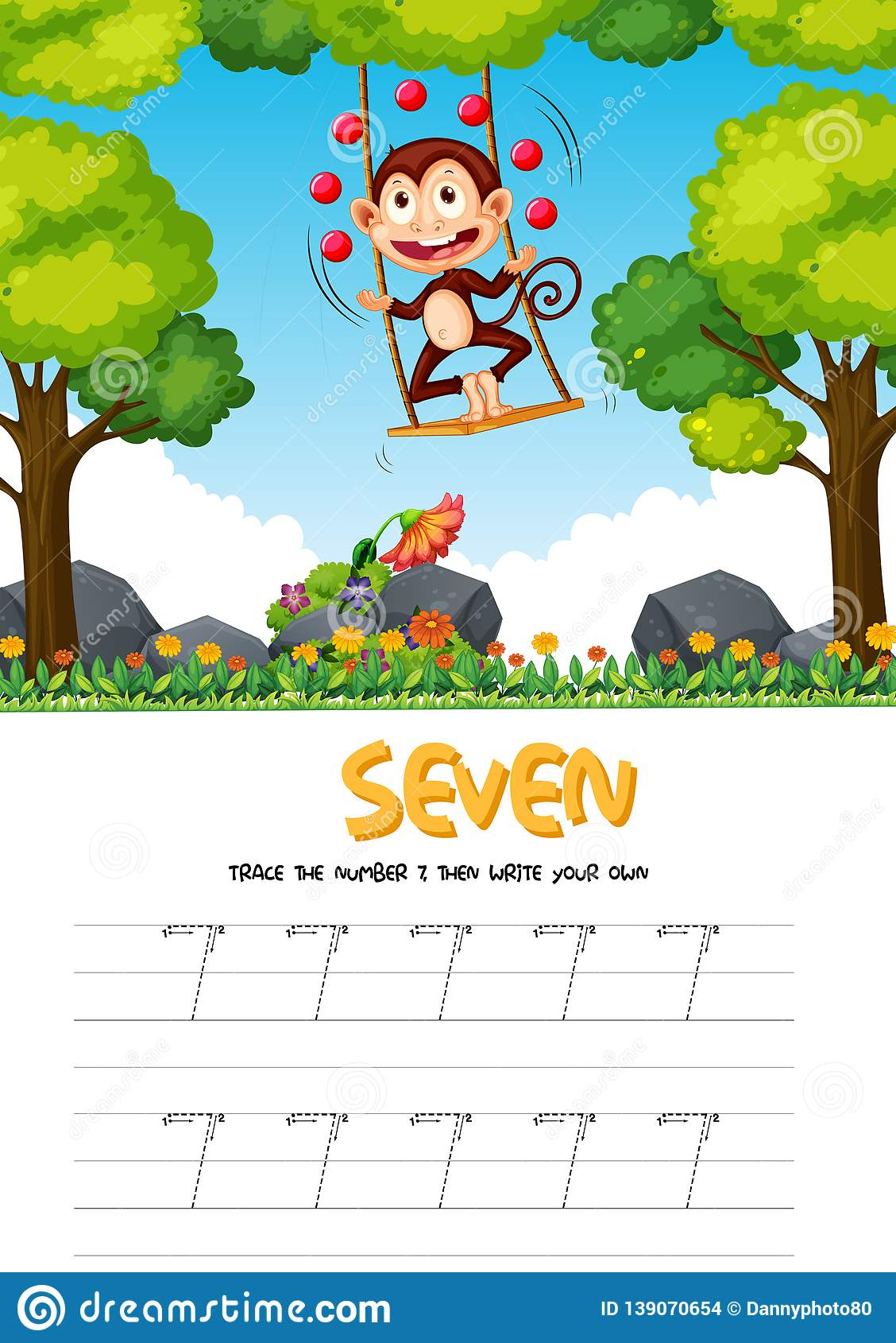 Number Seven Tracing Worksheets Stock Vector