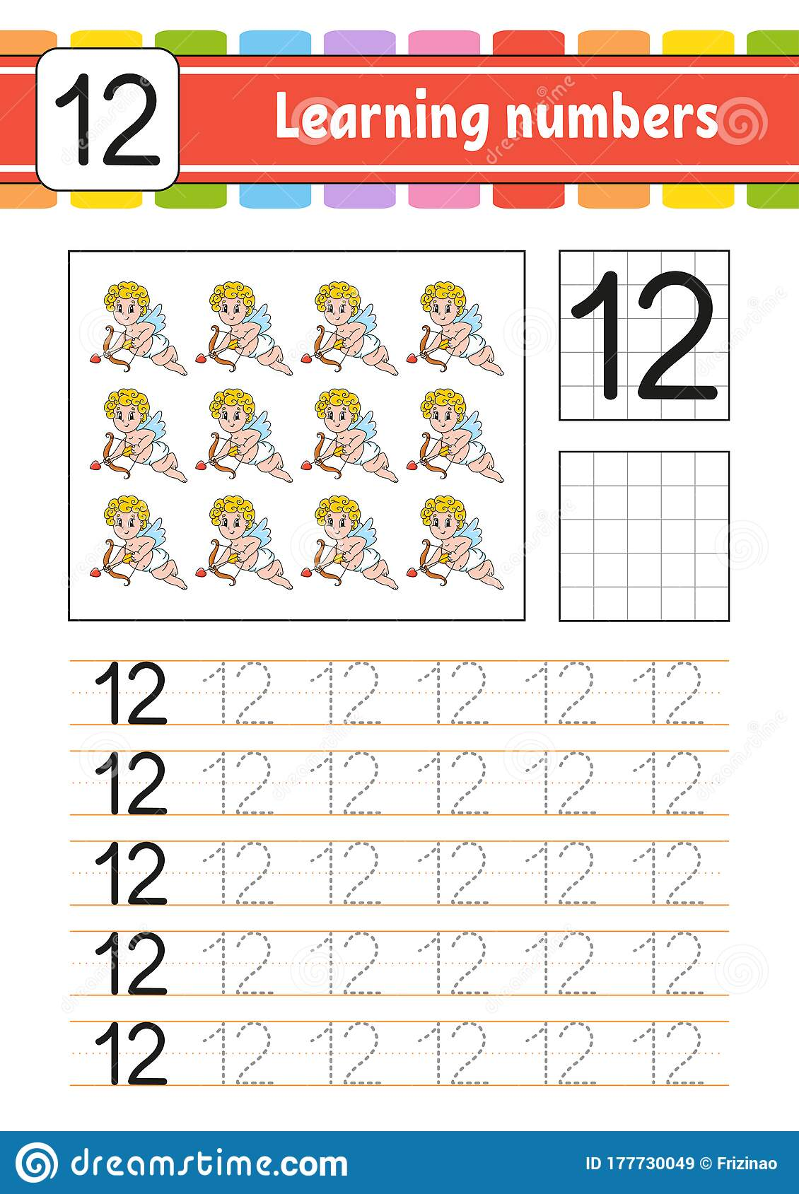 Number 12 Trace And Write Handwriting Practice Learning