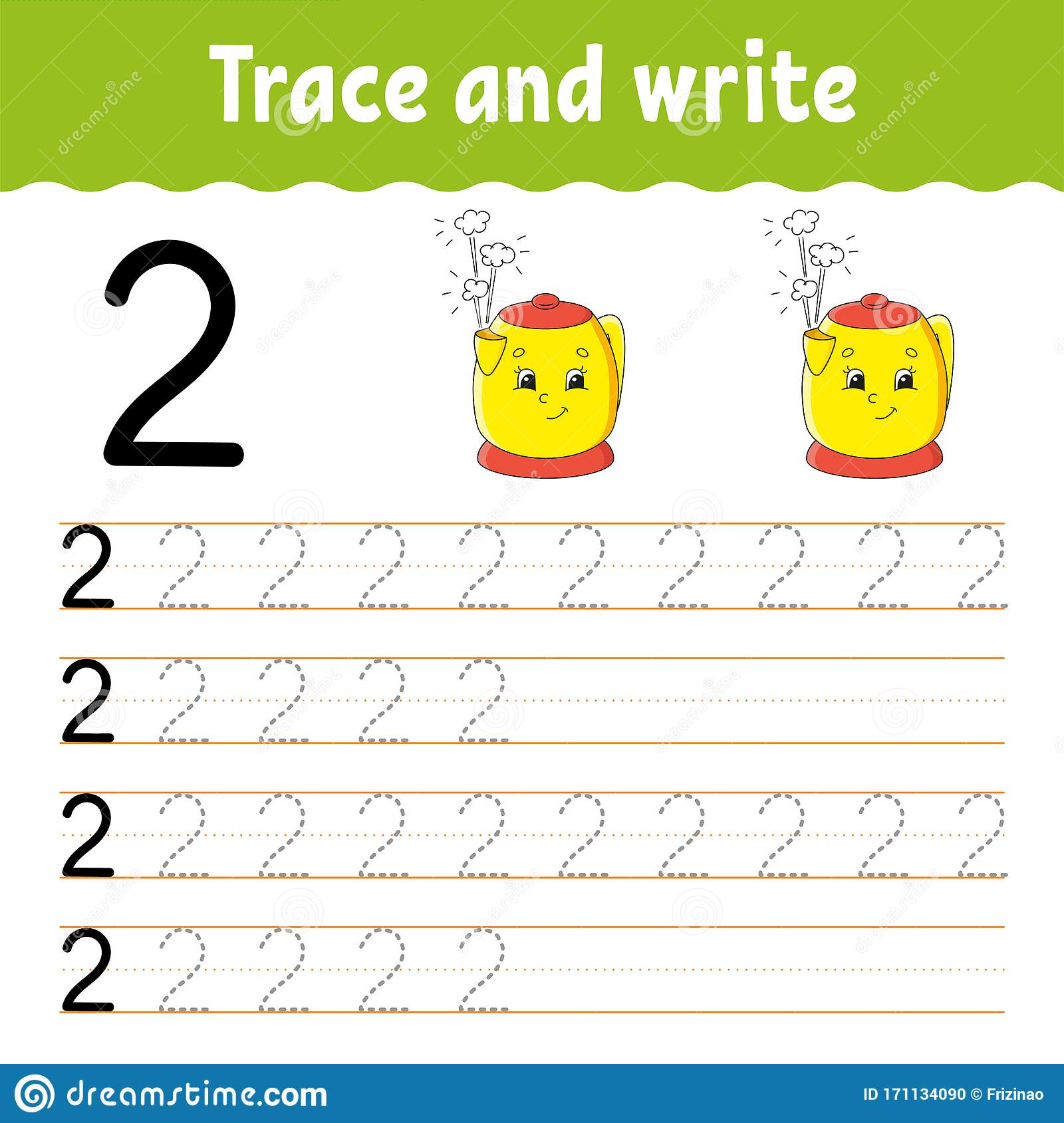 Number 2 Trace And Write Handwriting Practice Learning
