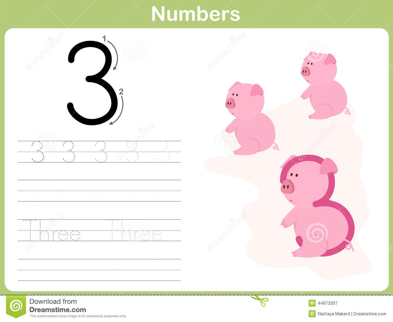 Number Tracing Worksheet Writing 0 9 Stock Illustration