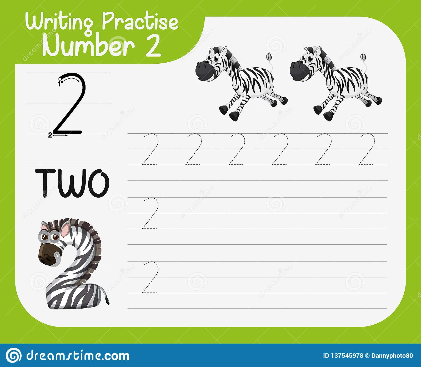Number Two Tracing Worksheets Stock Vector