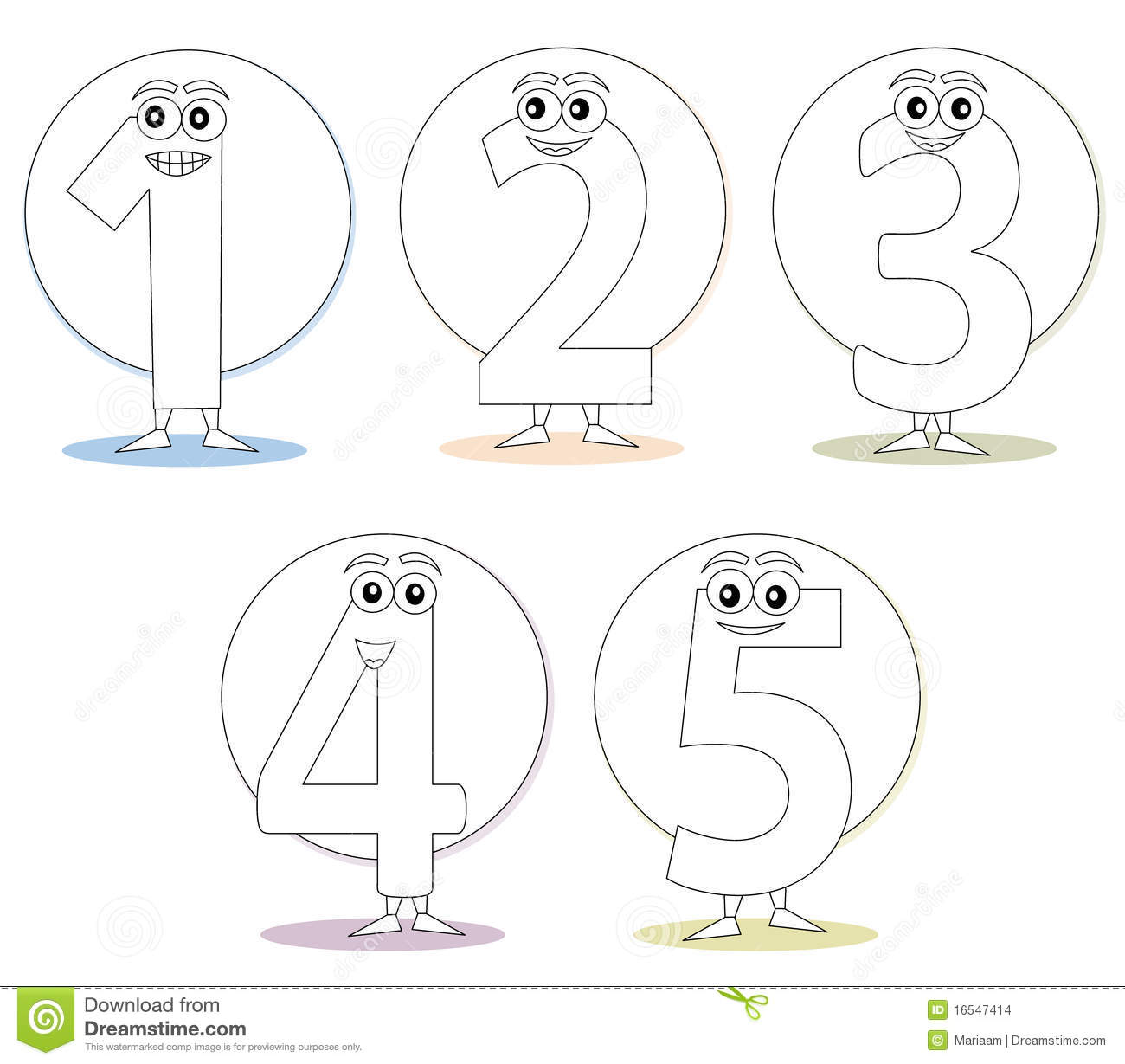 Numbers For Coloring Books Part 1 Stock Illustration