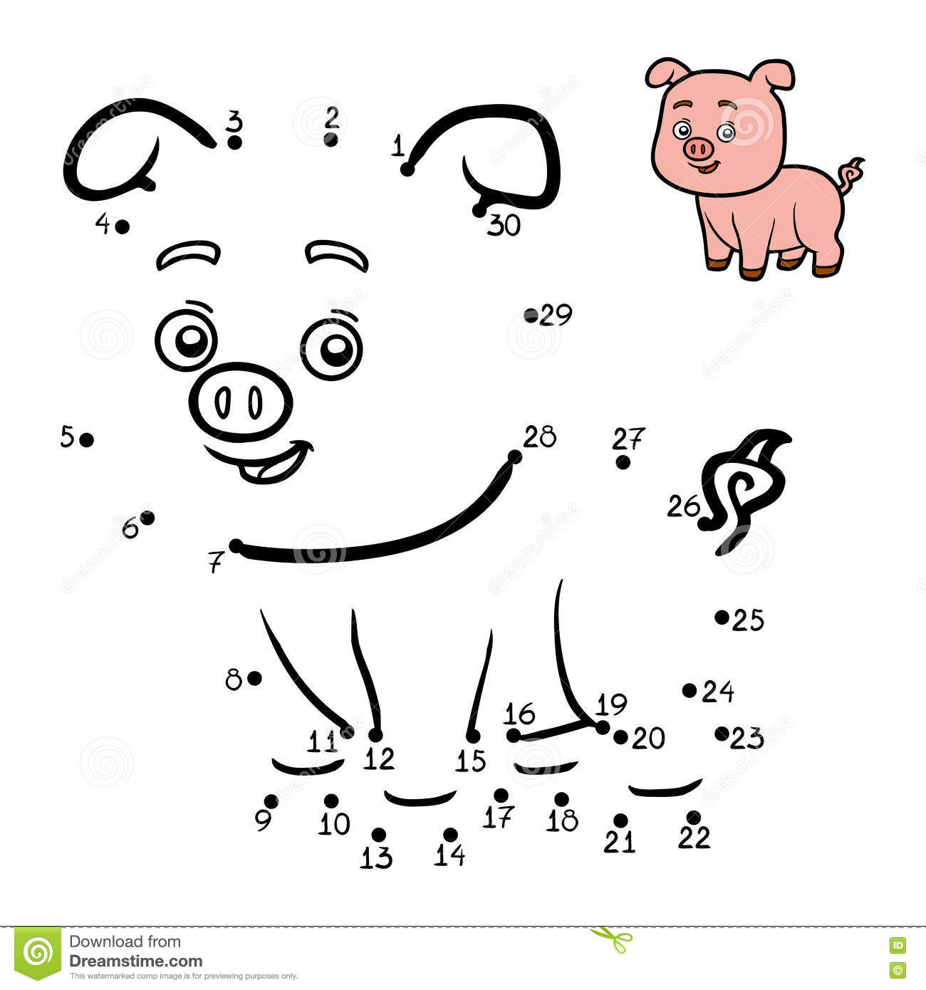Numbers Game For Children Little Pig Stock Vector