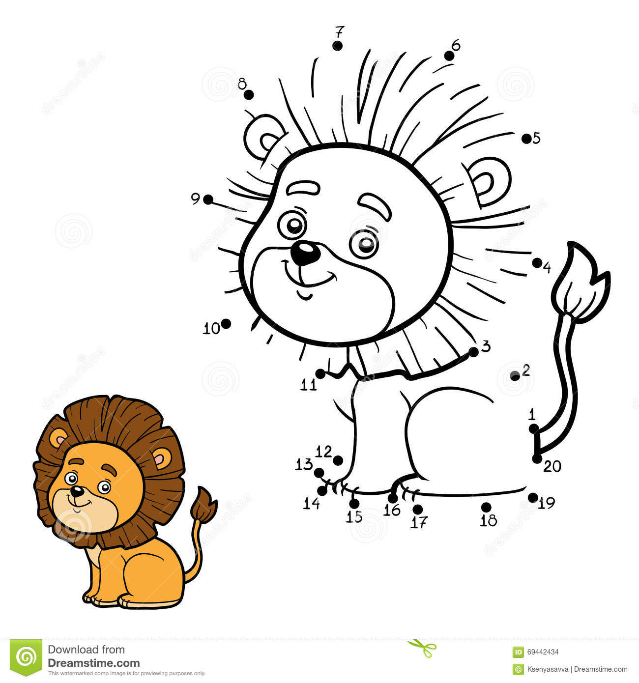 Numbers Game For Children Vector Character Lion Stock