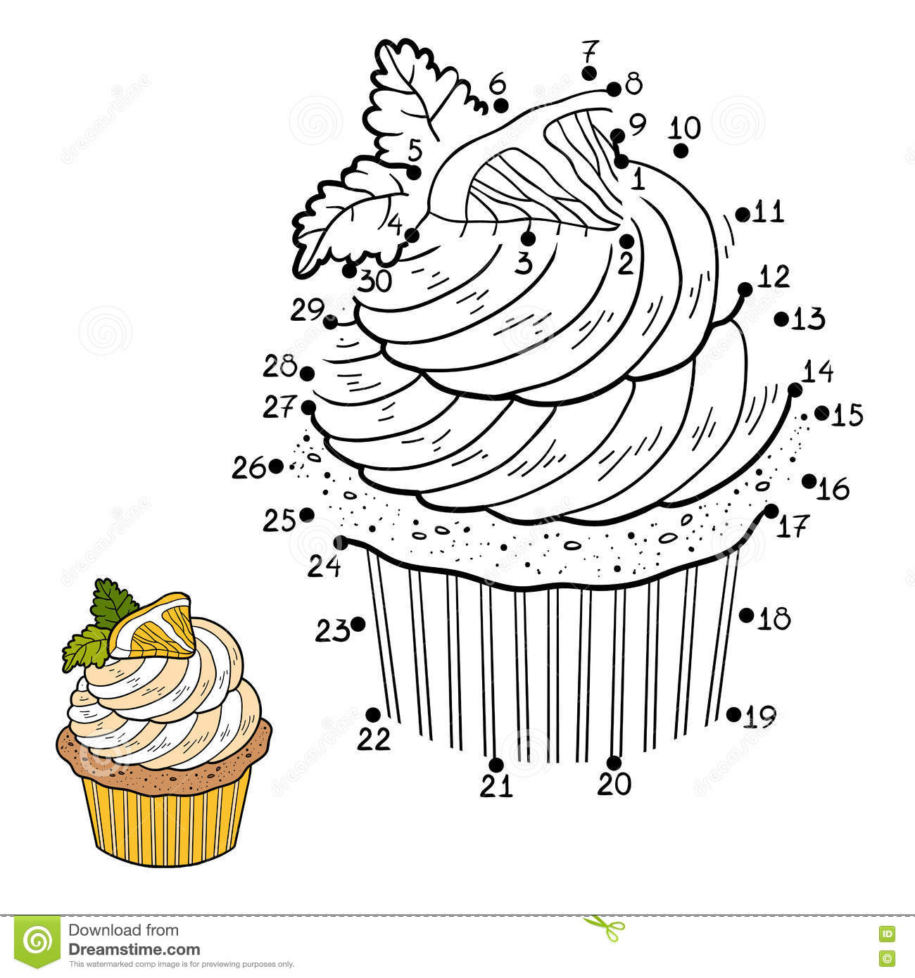 Numbers Game For Children Vector Cupcake With Lemon Stock