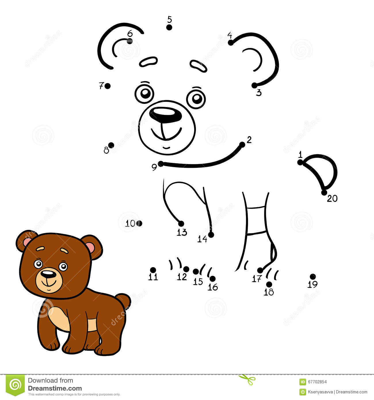 Numbers Game Dot To Dot Bear Stock Vector