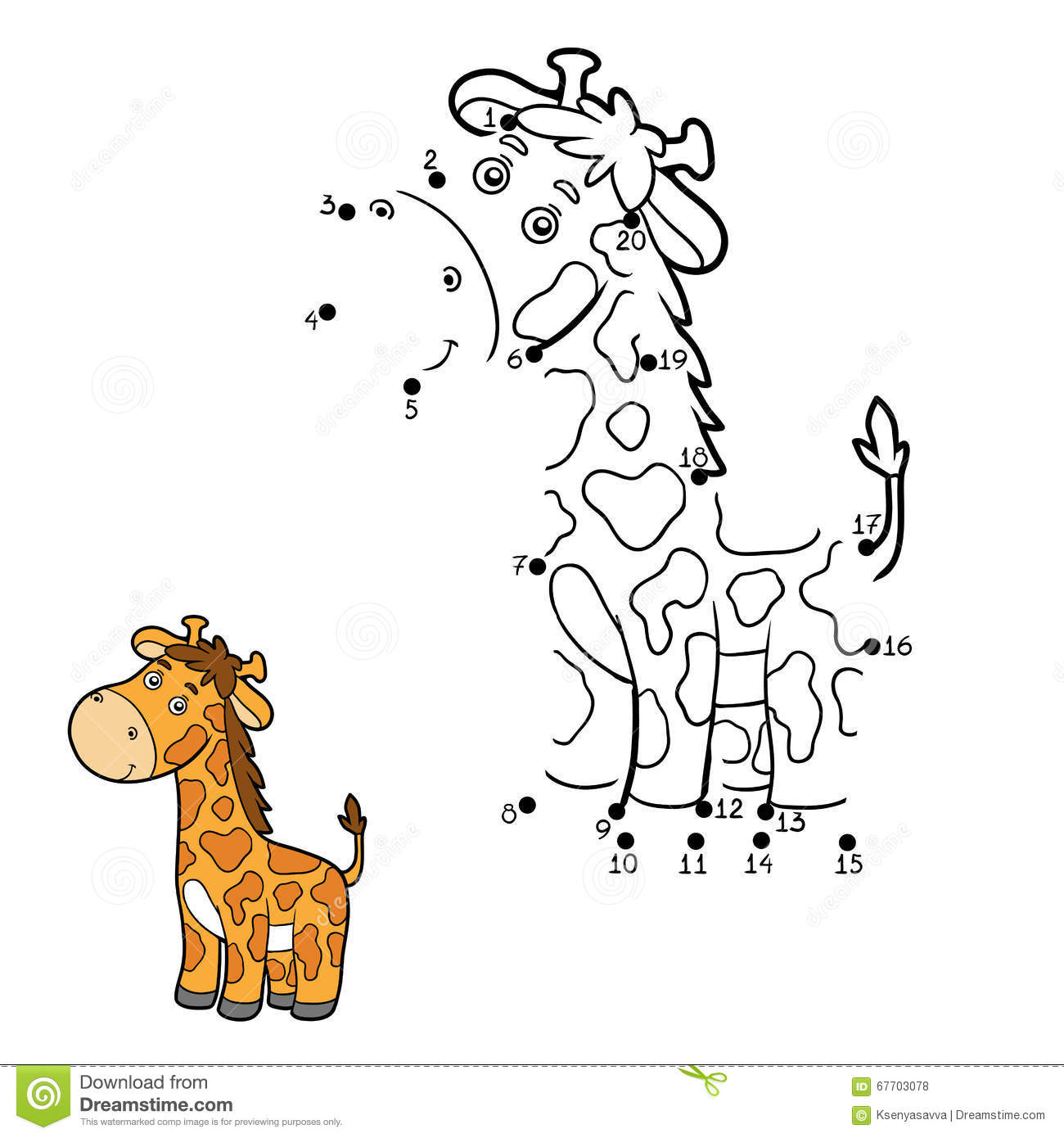 Numbers Game Dot To Dot Giraffe Stock Vector
