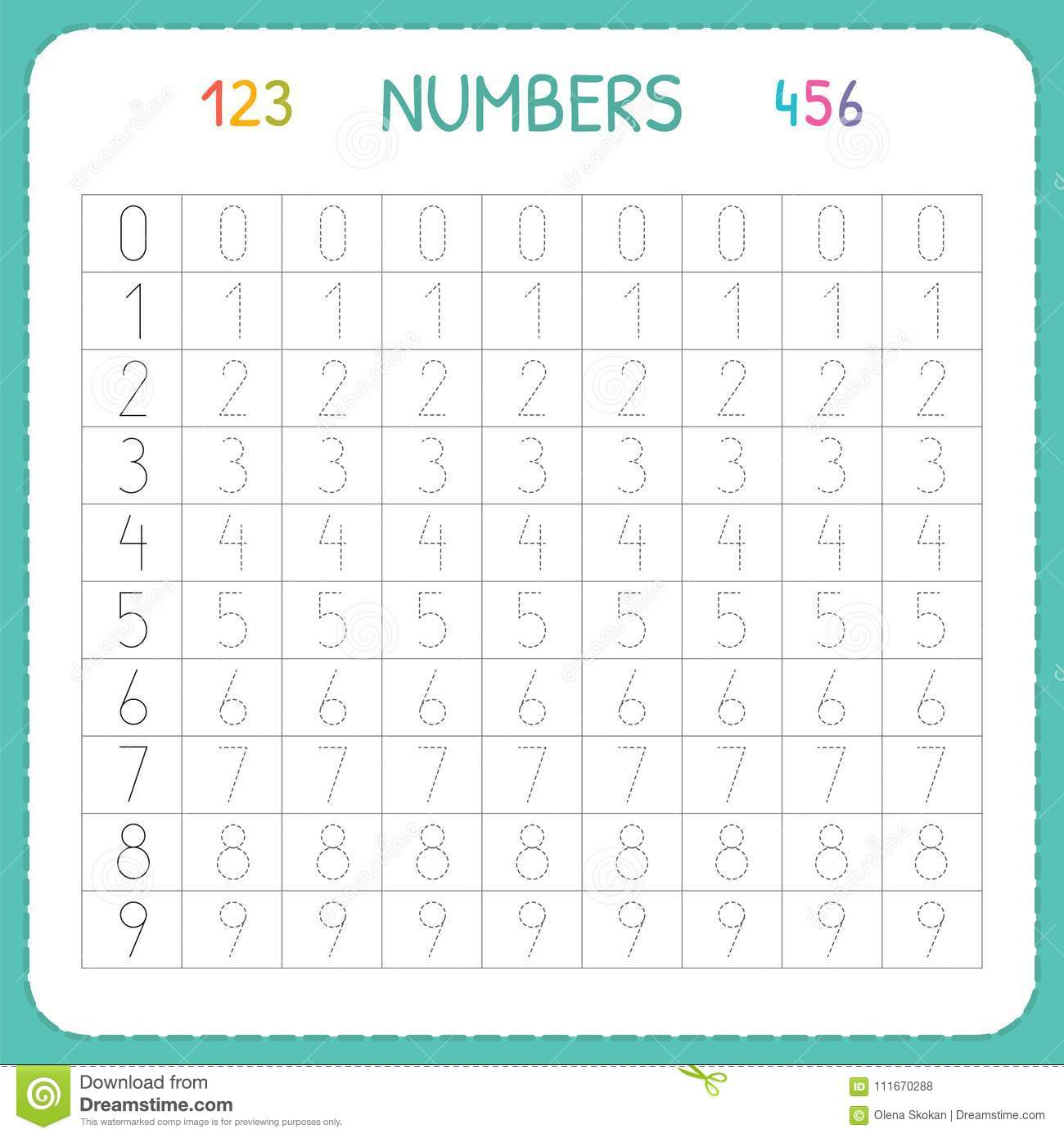 Numbers For Kids Worksheet For Kindergarten And Preschool Training To Write And Count Numbers