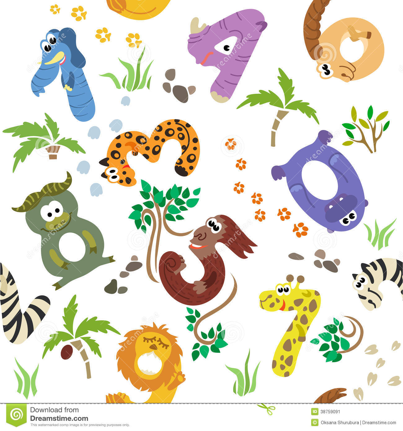 Numbers Like African Animals Seamless Pattern Stock Image