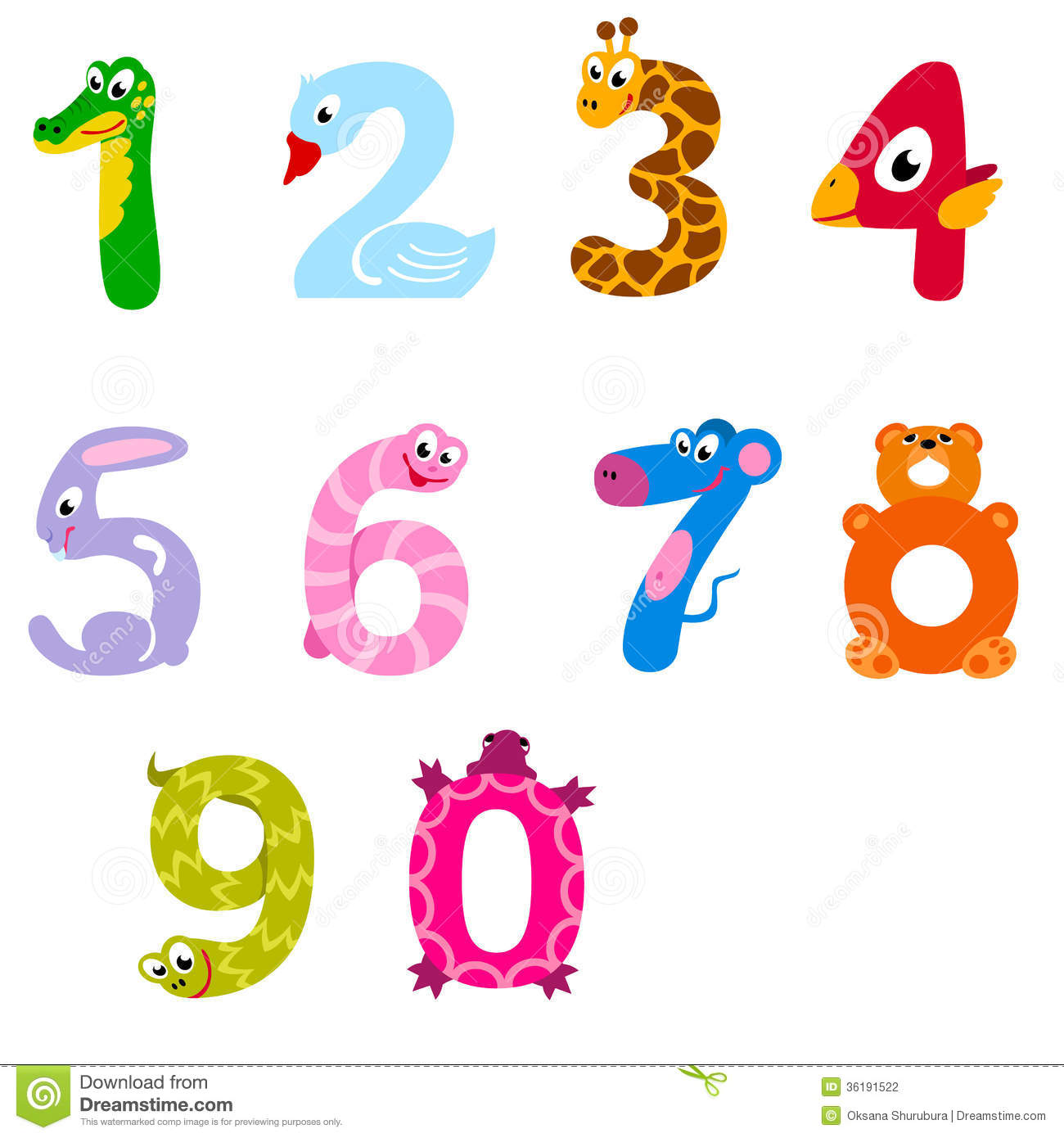 Numbers Like Domestic And Wild Animals Stock Vector