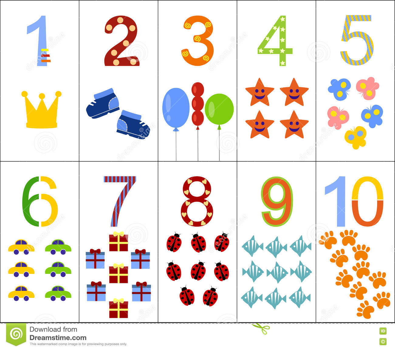 The Numbers From One To Ten Stock Vector